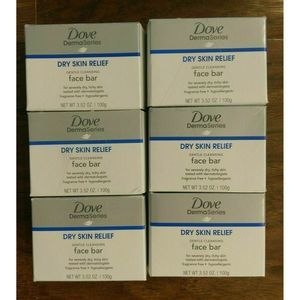 Dove Dry Relief Face Bar, 6 Bars Soap, NEW